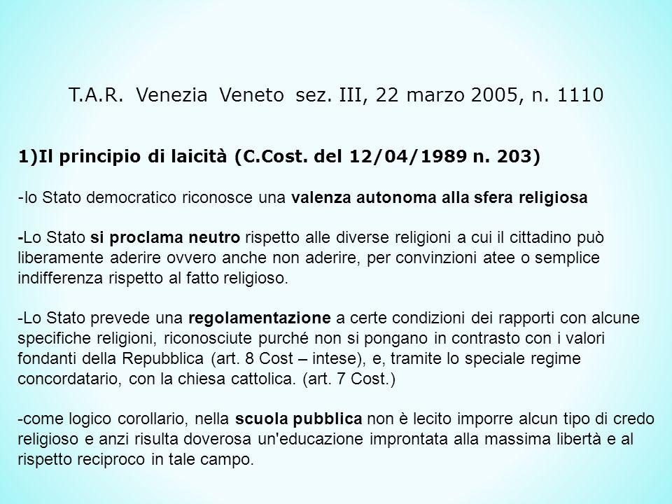T.A.R. Venezia Veneto sez. III, 22 marzo 2005, n. 1110