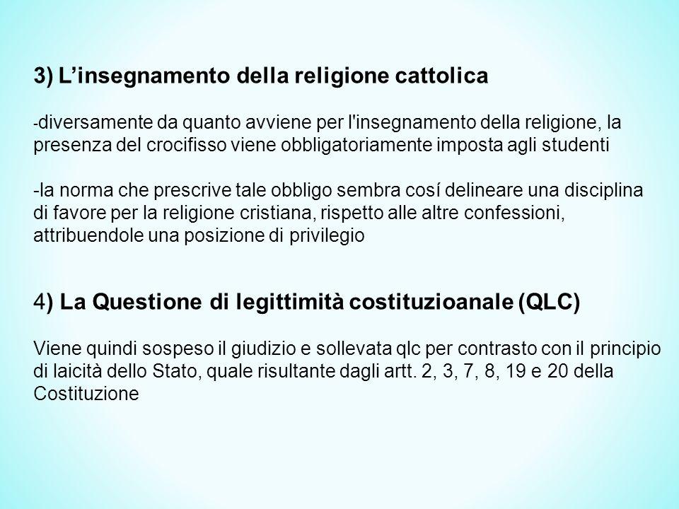 3) L'insegnamento della religione cattolica