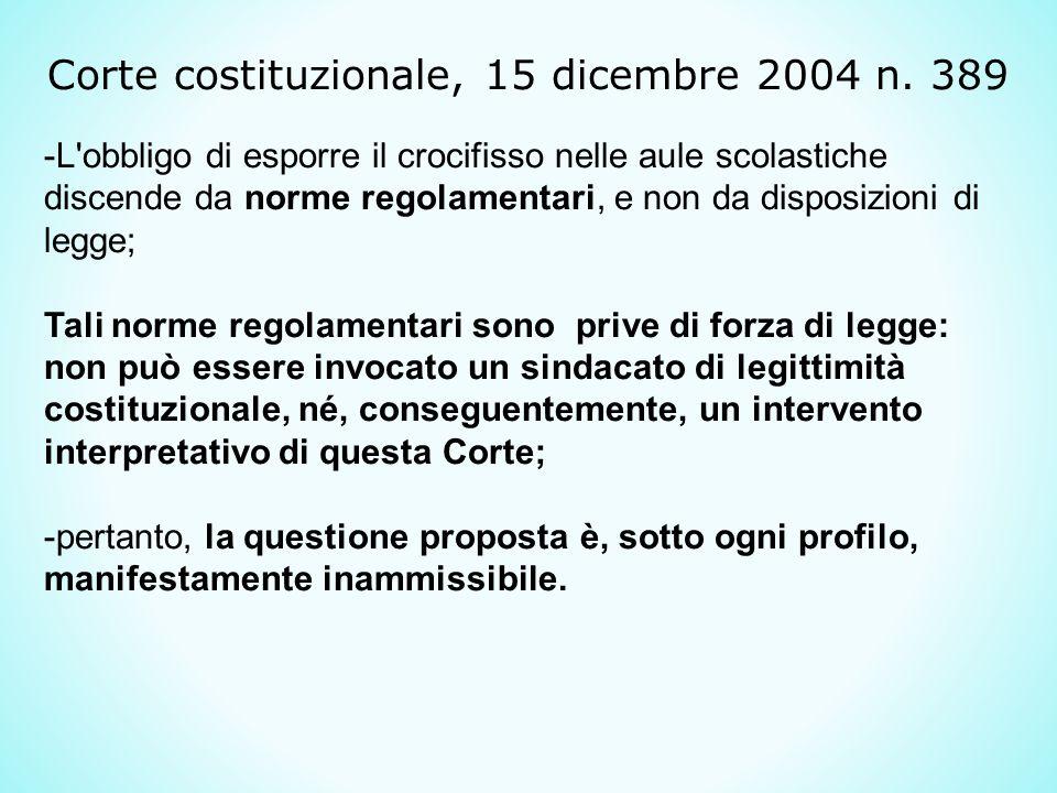 Corte costituzionale, 15 dicembre 2004 n. 389
