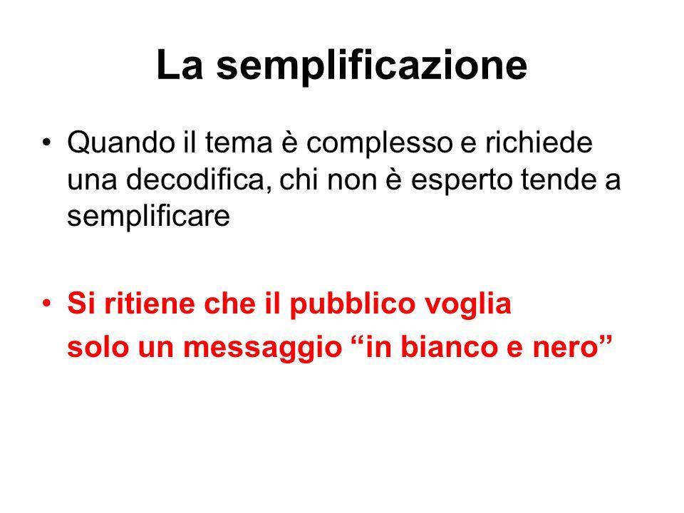 La semplificazione Quando il tema è complesso e richiede una decodifica, chi non è esperto tende a semplificare.