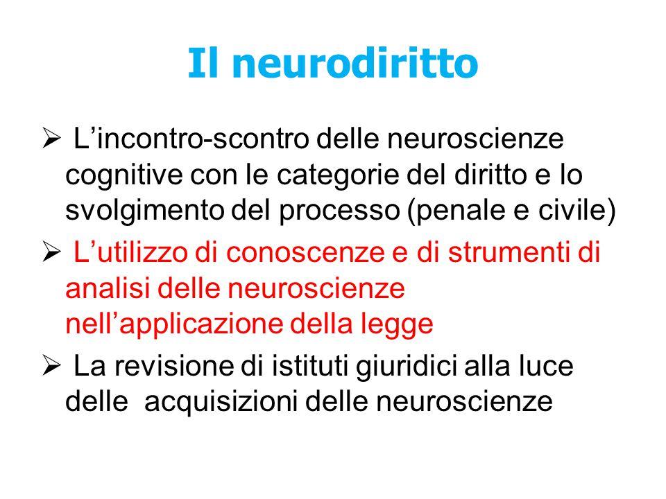 Il neurodiritto L'incontro-scontro delle neuroscienze cognitive con le categorie del diritto e lo svolgimento del processo (penale e civile)