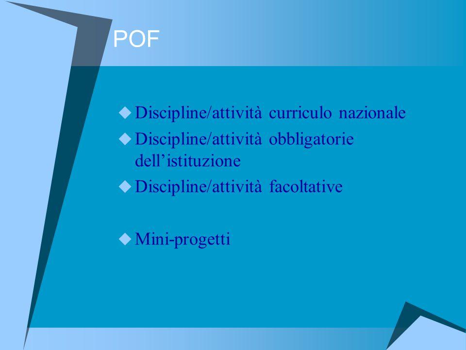 POF Discipline/attività curriculo nazionale