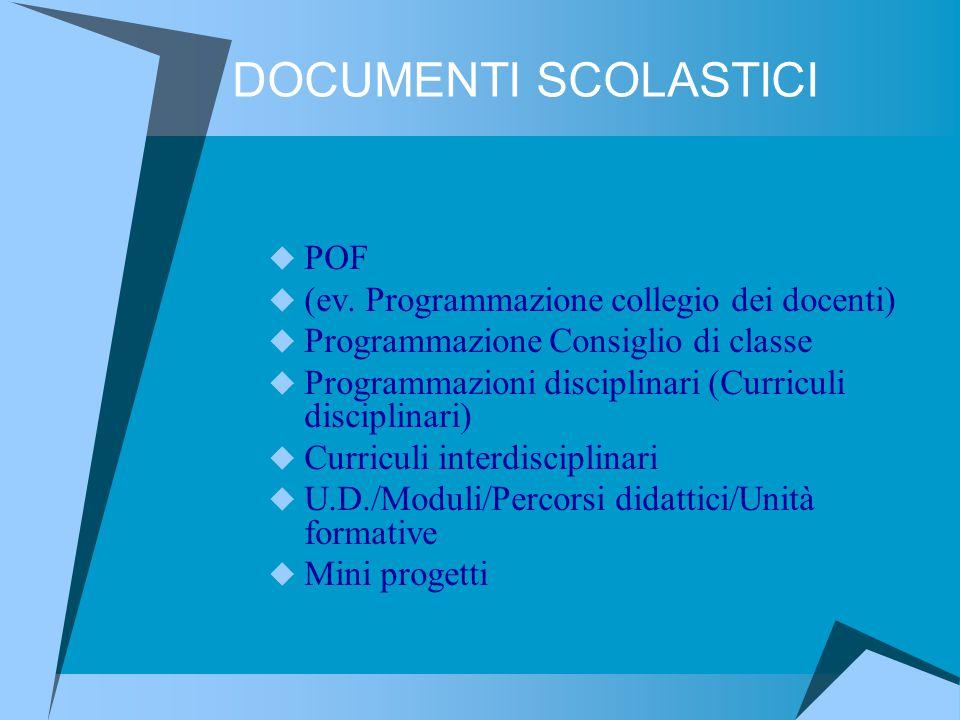 DOCUMENTI SCOLASTICI POF (ev. Programmazione collegio dei docenti)