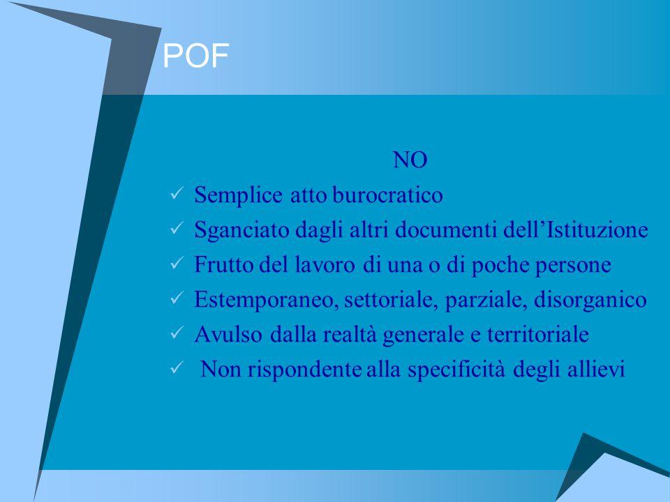 POF NO Semplice atto burocratico