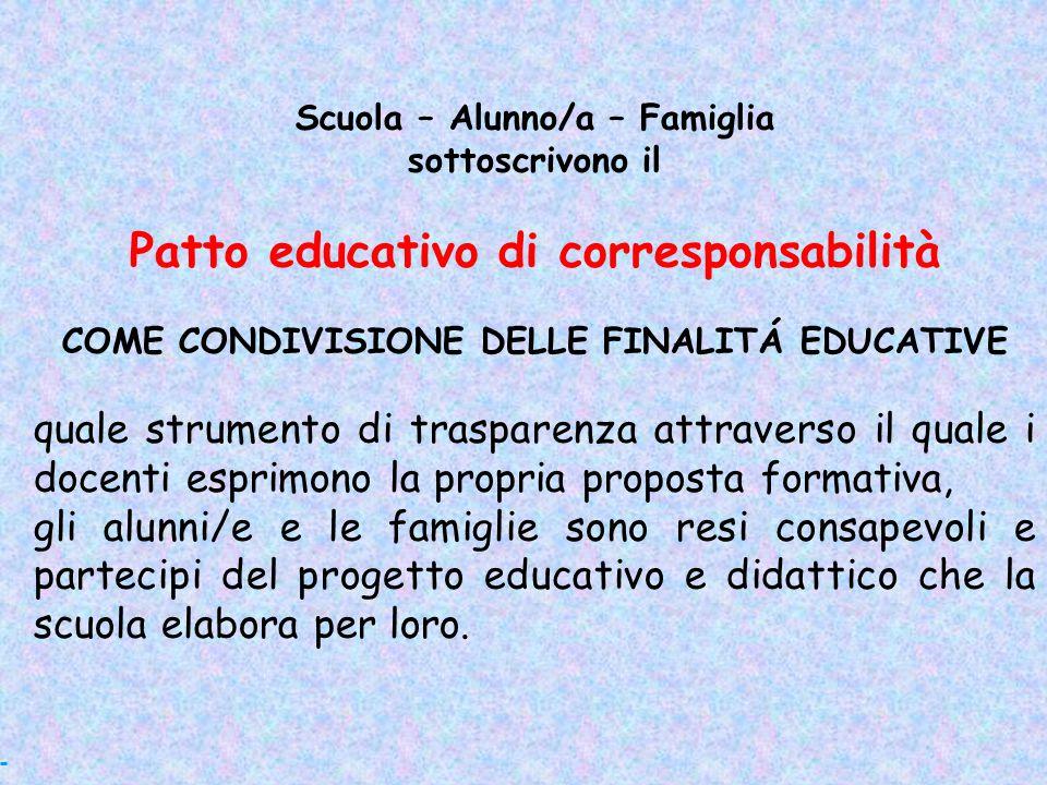 Scuola – Alunno/a – Famiglia Patto educativo di corresponsabilità