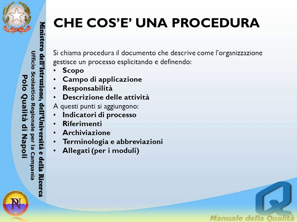 CHE COS'E' UNA PROCEDURA