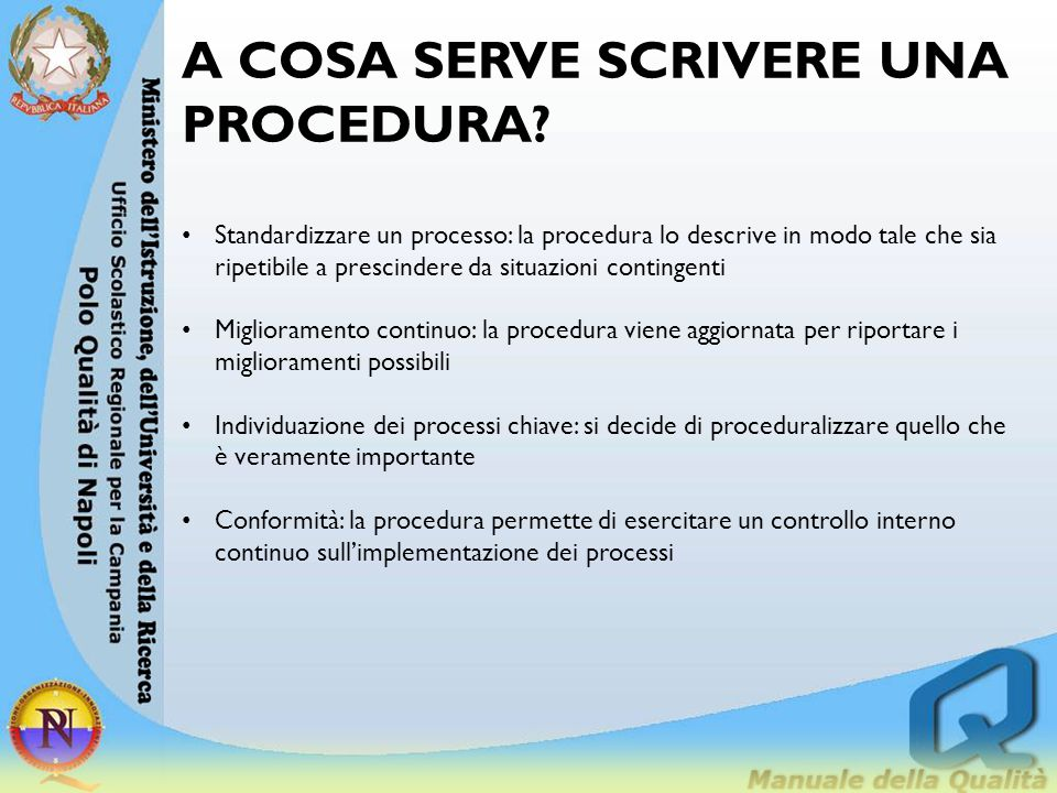 A COSA SERVE SCRIVERE UNA PROCEDURA