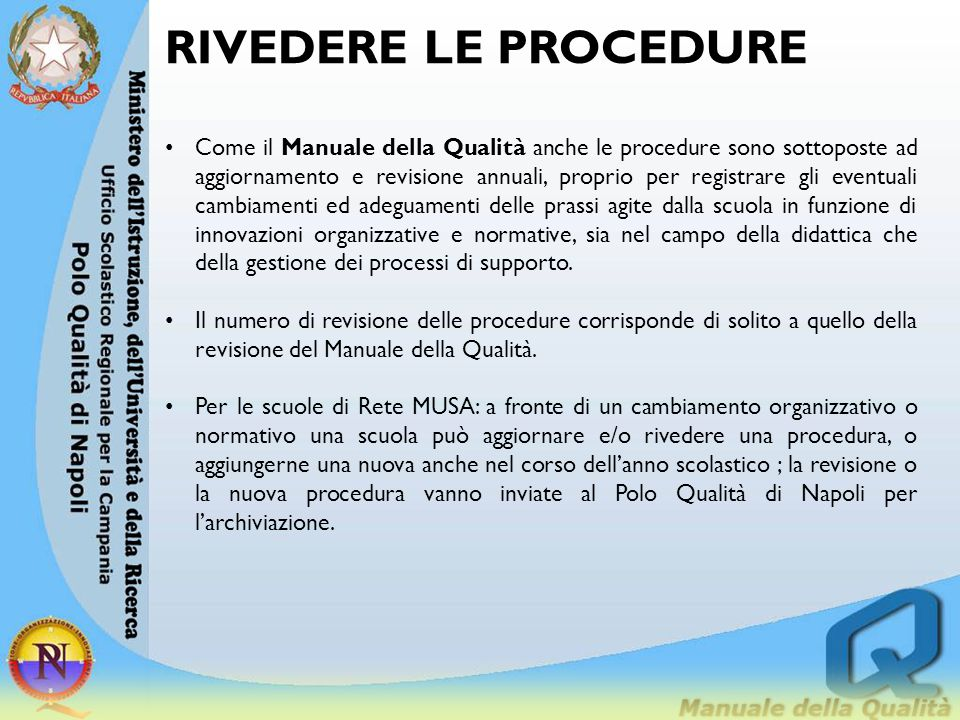 RIVEDERE LE PROCEDURE