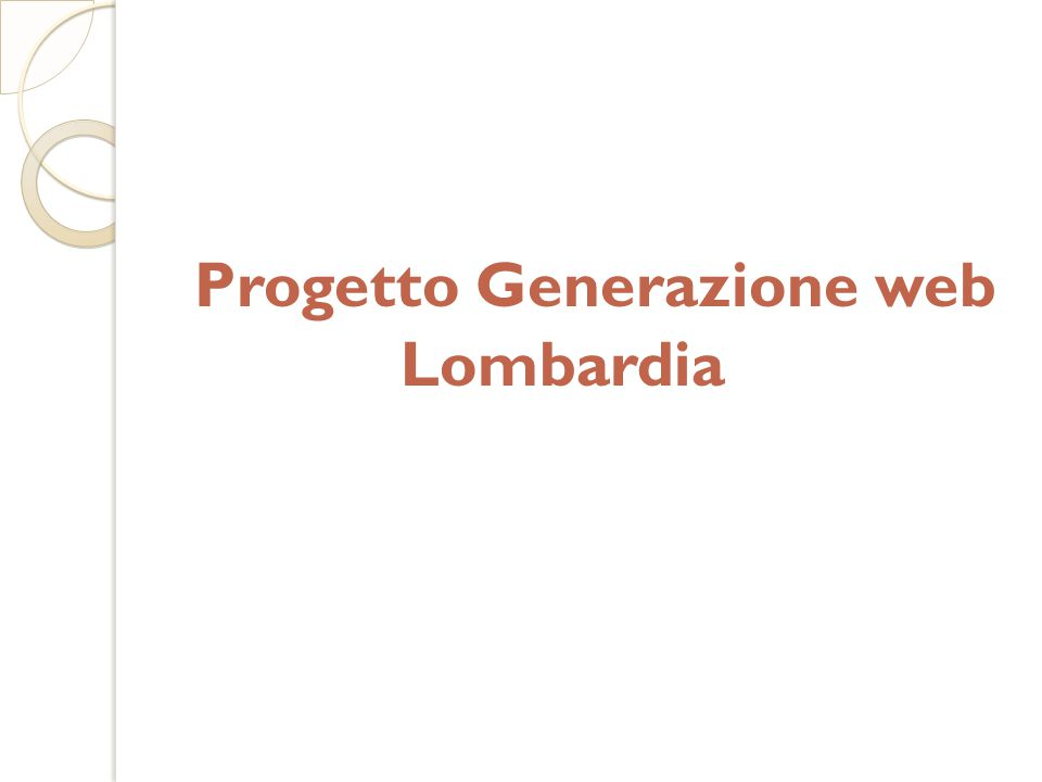 Progetto Generazione web Lombardia