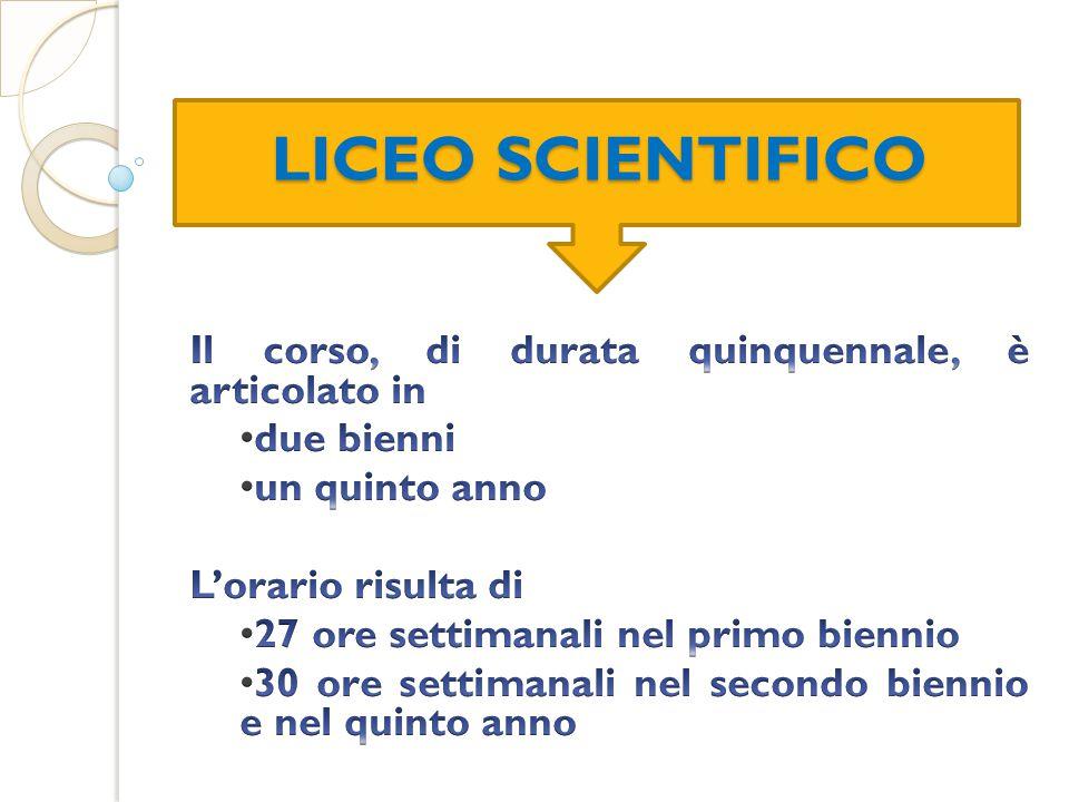 LICEO SCIENTIFICO Il corso, di durata quinquennale, è articolato in
