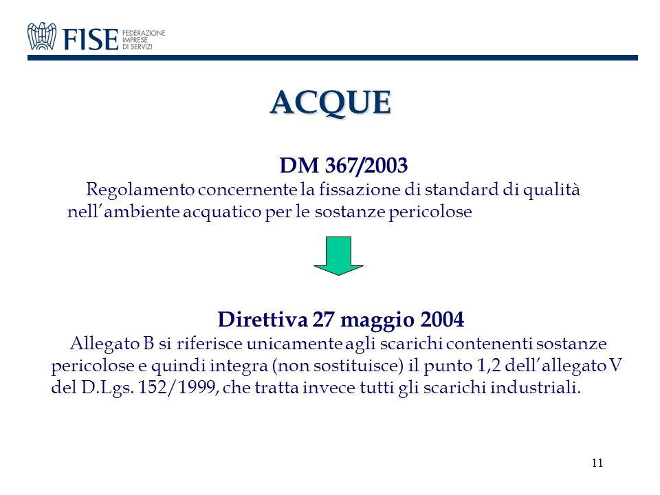 ACQUE DM 367/2003. Regolamento concernente la fissazione di standard di qualità nell'ambiente acquatico per le sostanze pericolose.