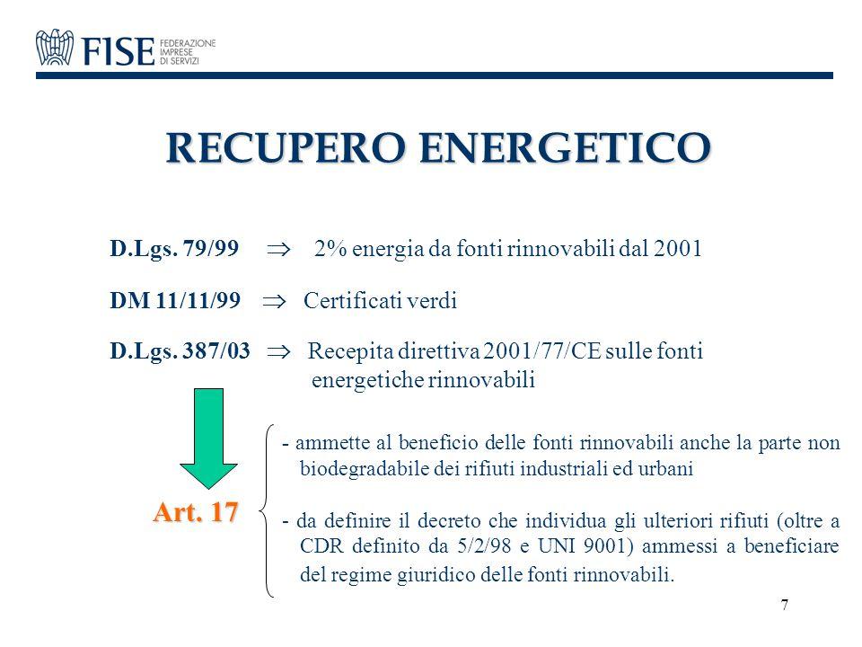 RECUPERO ENERGETICO Art. 17