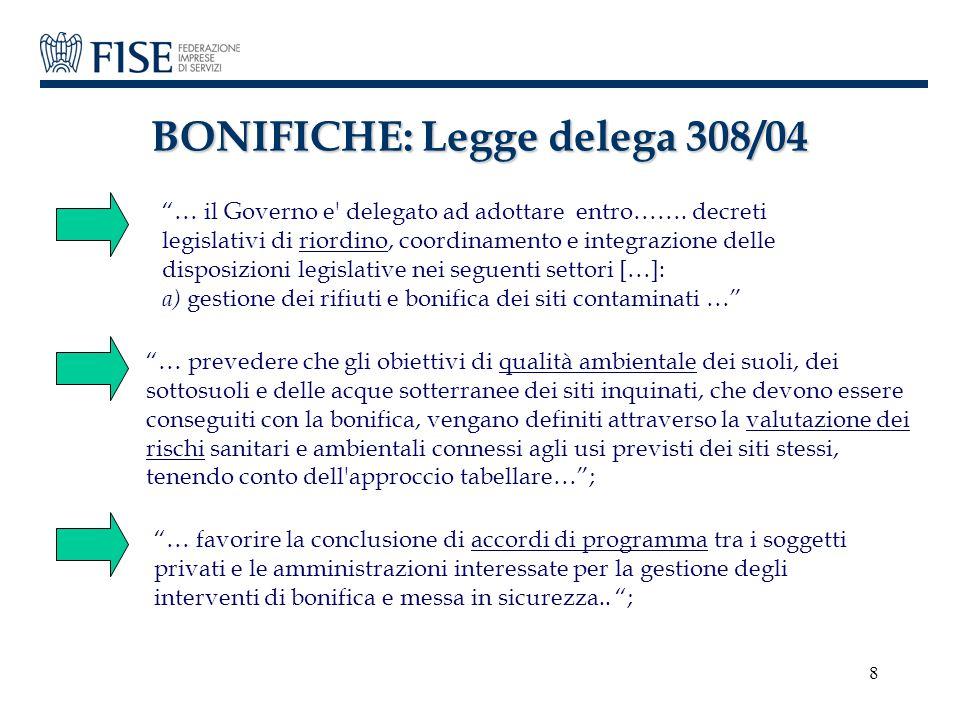 BONIFICHE: Legge delega 308/04