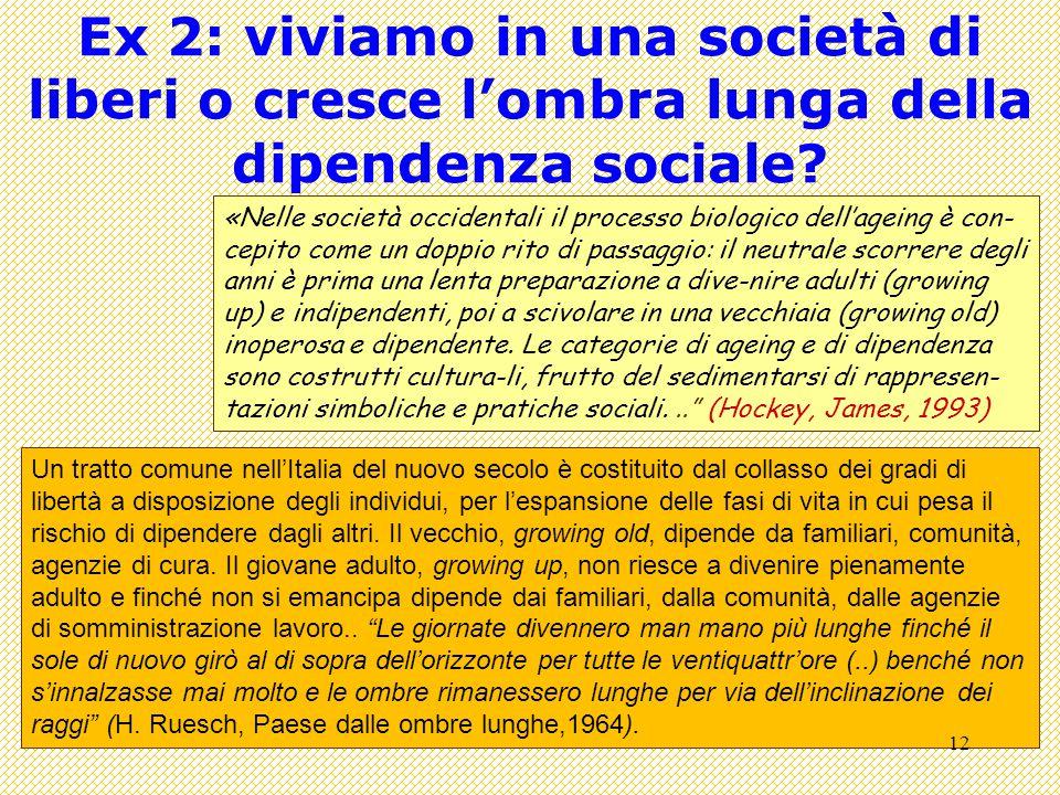 Ex 2: viviamo in una società di liberi o cresce l'ombra lunga della dipendenza sociale