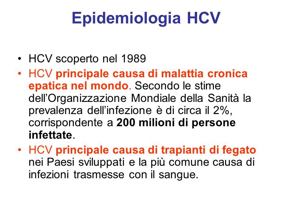 Epidemiologia HCV HCV scoperto nel 1989