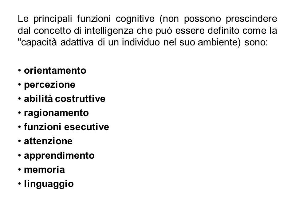 Le principali funzioni cognitive (non possono prescindere dal concetto di intelligenza che può essere definito come la capacità adattiva di un individuo nel suo ambiente) sono: