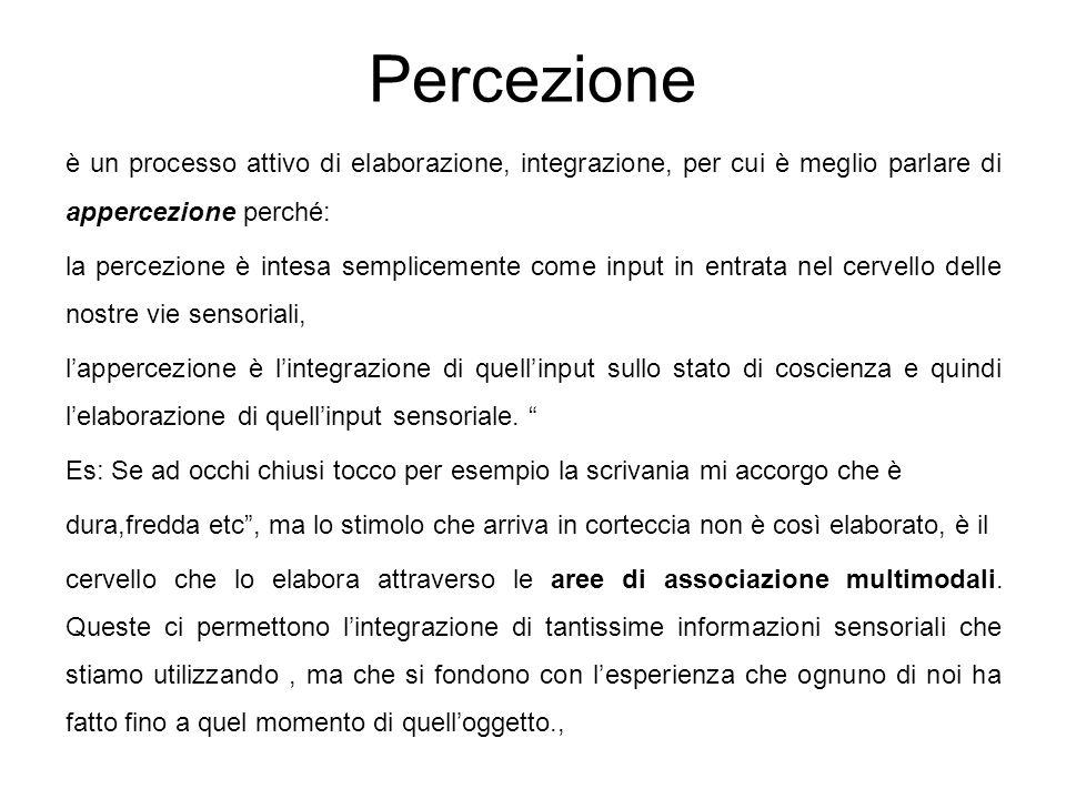 Percezione è un processo attivo di elaborazione, integrazione, per cui è meglio parlare di appercezione perché: