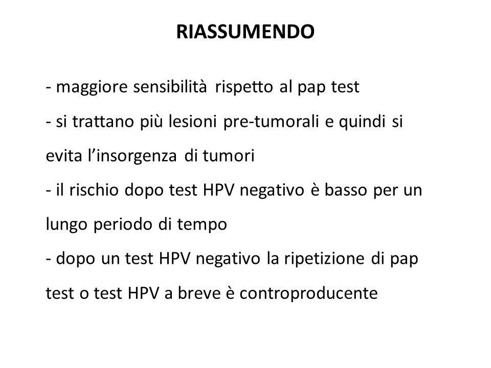 RIASSUMENDO maggiore sensibilità rispetto al pap test