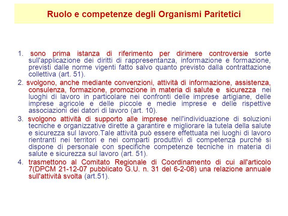 Ruolo e competenze degli Organismi Paritetici