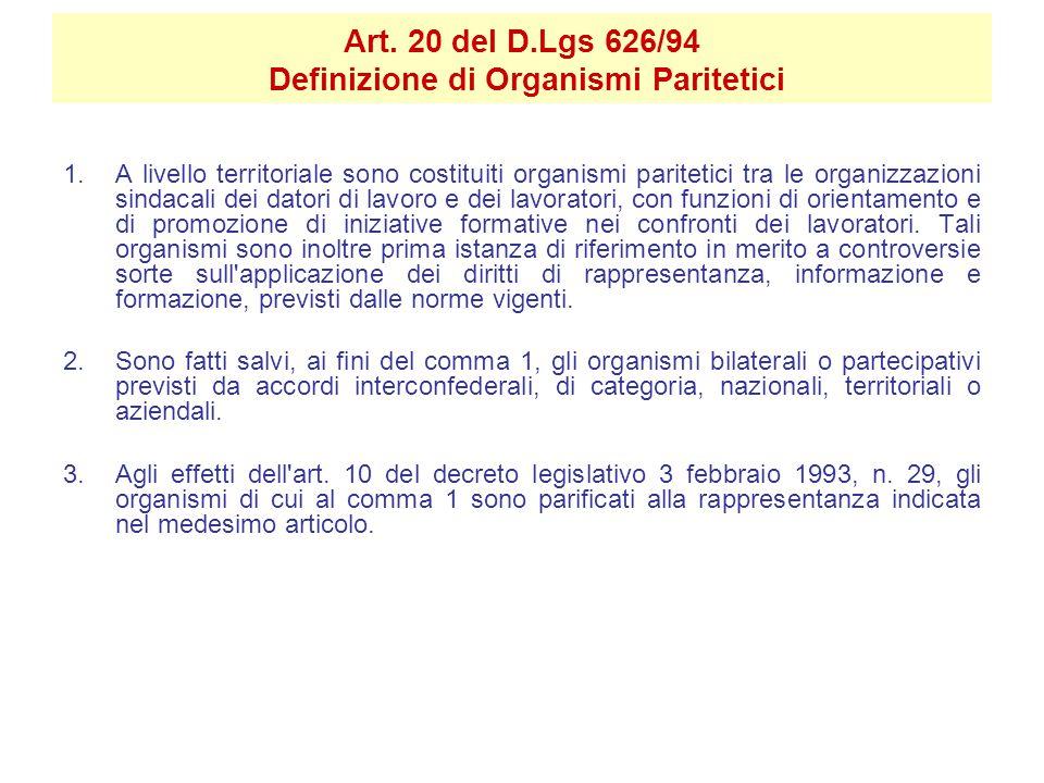 Art. 20 del D.Lgs 626/94 Definizione di Organismi Paritetici