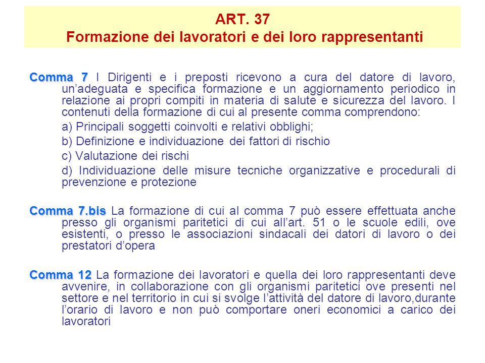 ART. 37 Formazione dei lavoratori e dei loro rappresentanti