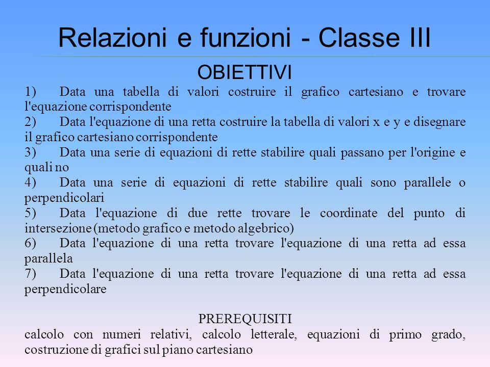 Relazioni e funzioni - Classe III