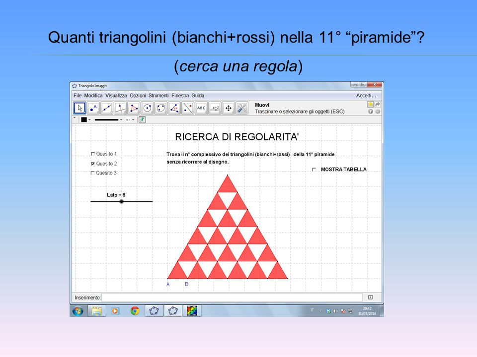 Quanti triangolini (bianchi+rossi) nella 11° piramide