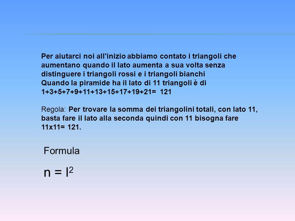 Per aiutarci noi all inizio abbiamo contato i triangoli che aumentano quando il lato aumenta a sua volta senza distinguere i triangoli rossi e i triangoli bianchi Quando la piramide ha il lato di 11 triangoli è di 1+3+5+7+9+11+13+15+17+19+21= 121 Regola: Per trovare la somma dei triangolini totali, con lato 11, basta fare il lato alla seconda quindi con 11 bisogna fare 11x11= 121.