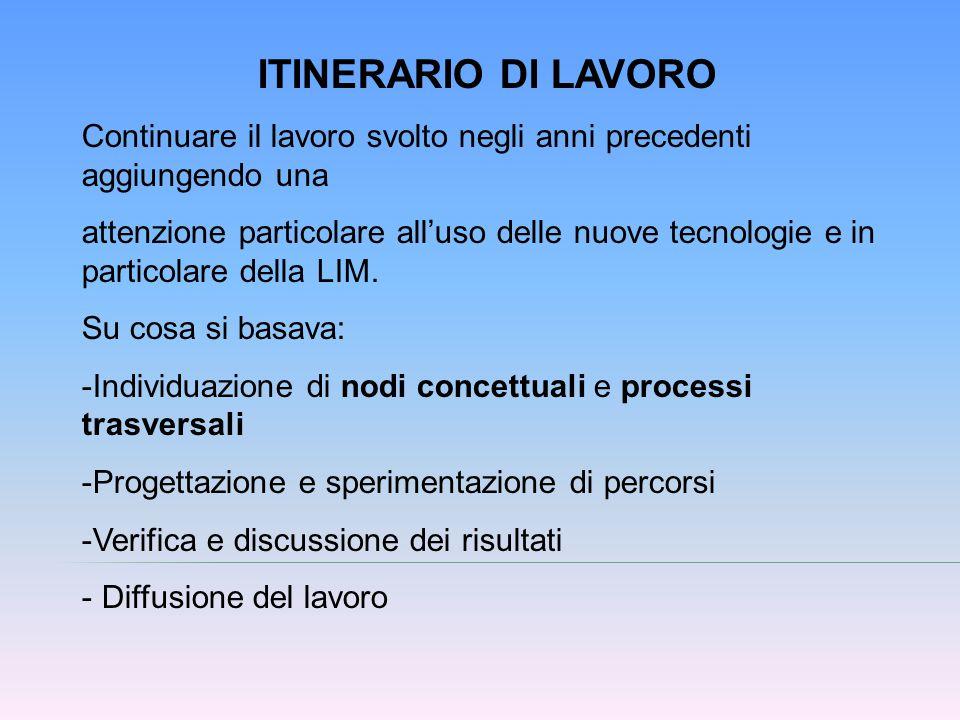 ITINERARIO DI LAVORO Continuare il lavoro svolto negli anni precedenti aggiungendo una.