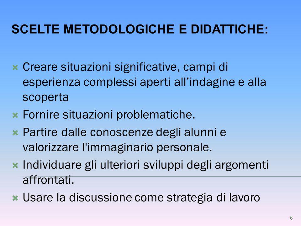 SCELTE METODOLOGICHE E DIDATTICHE: