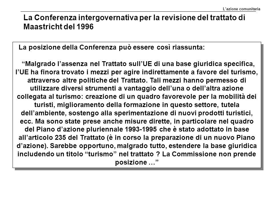 L'azione comunitaria La Conferenza intergovernativa per la revisione del trattato di Maastricht del 1996.