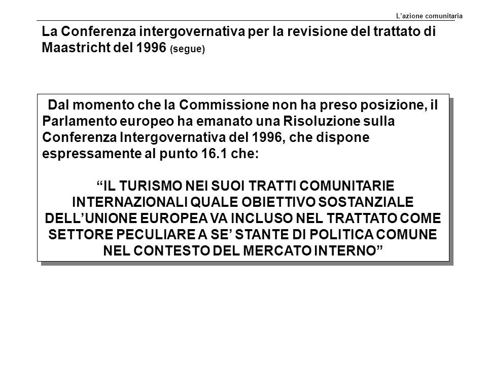 L'azione comunitaria La Conferenza intergovernativa per la revisione del trattato di Maastricht del 1996 (segue)