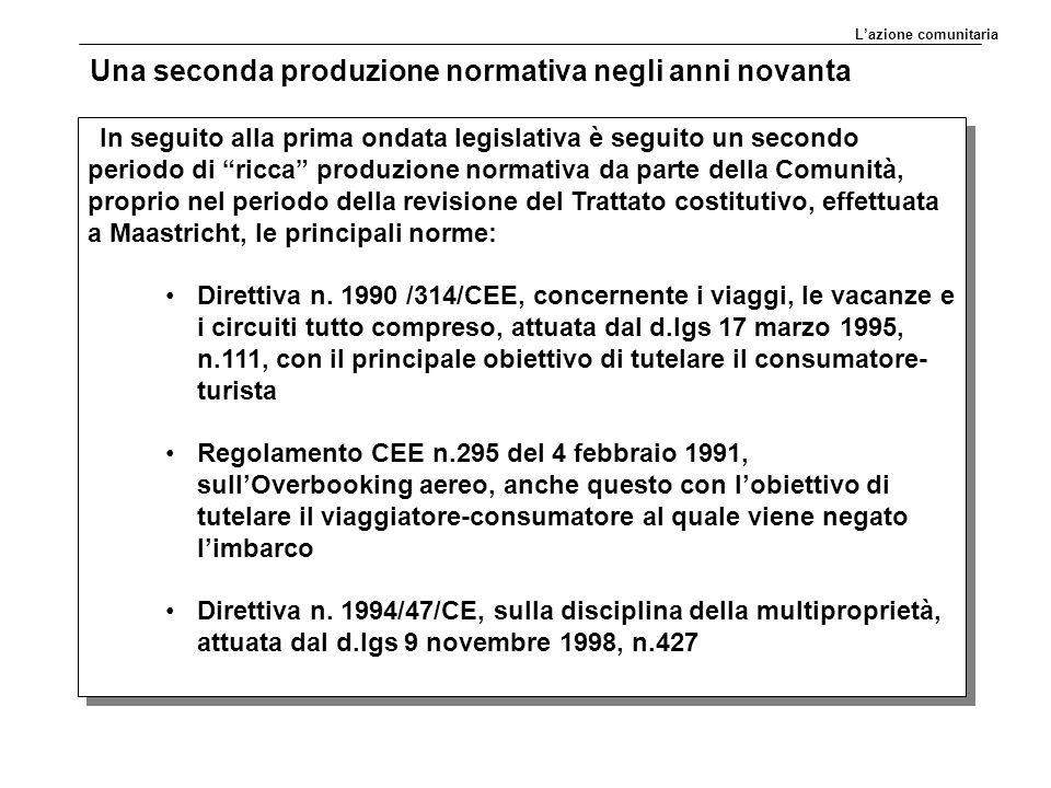 Una seconda produzione normativa negli anni novanta