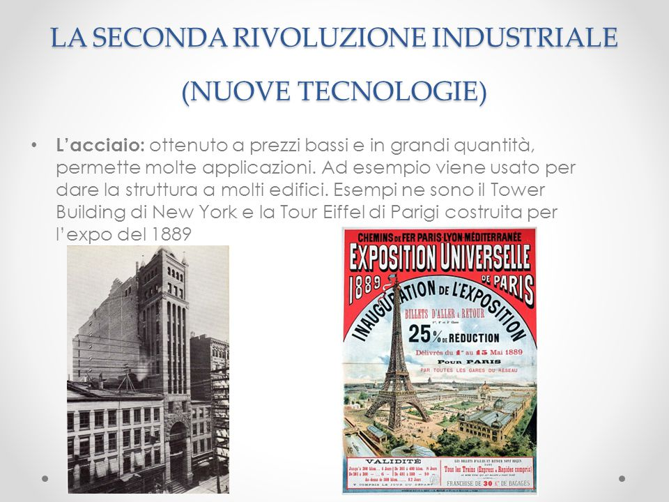 LA SECONDA RIVOLUZIONE INDUSTRIALE (NUOVE TECNOLOGIE)