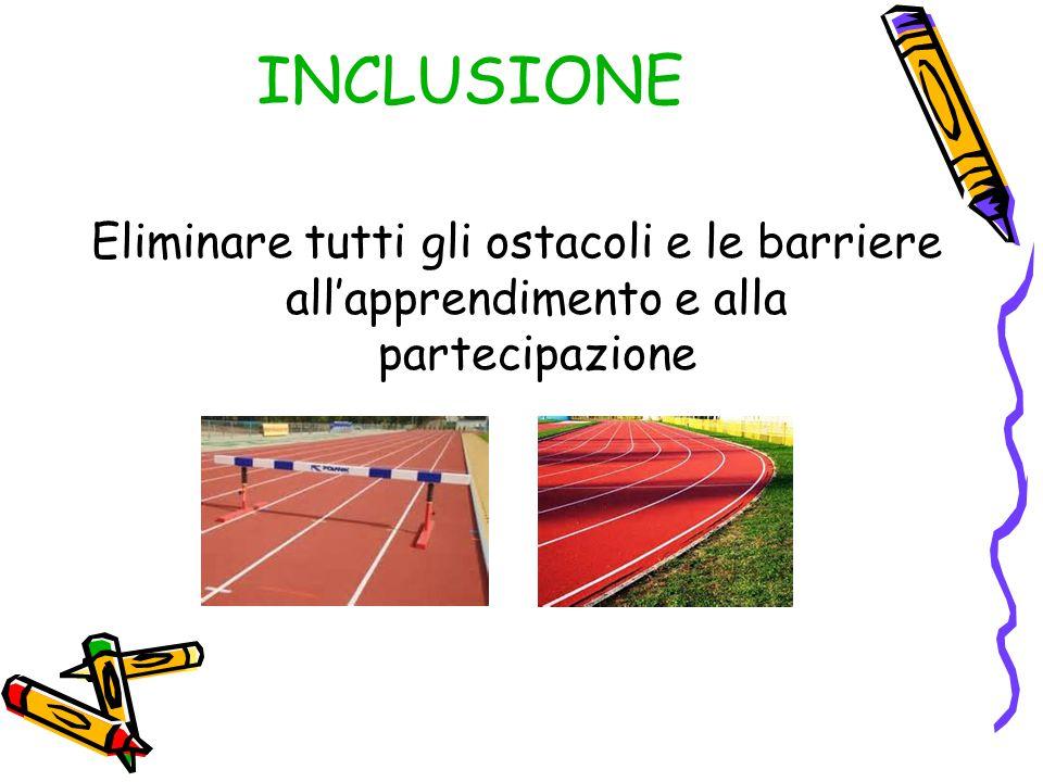 INCLUSIONE Eliminare tutti gli ostacoli e le barriere all'apprendimento e alla partecipazione