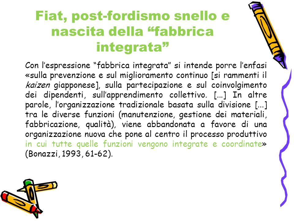 Fiat, post-fordismo snello e nascita della fabbrica integrata