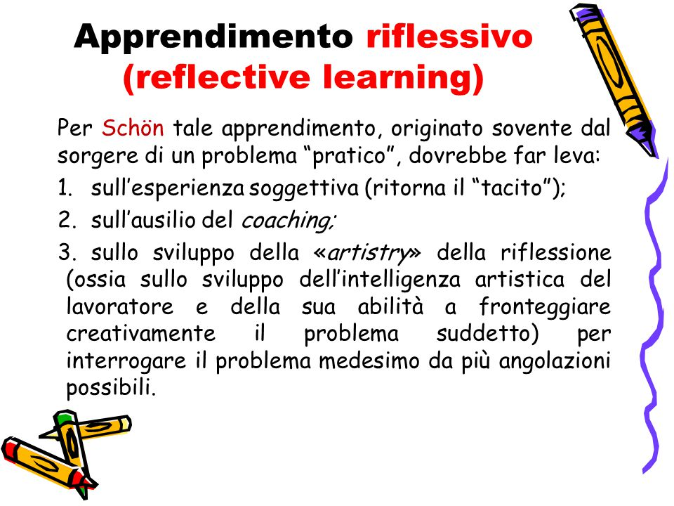Apprendimento riflessivo (reflective learning)