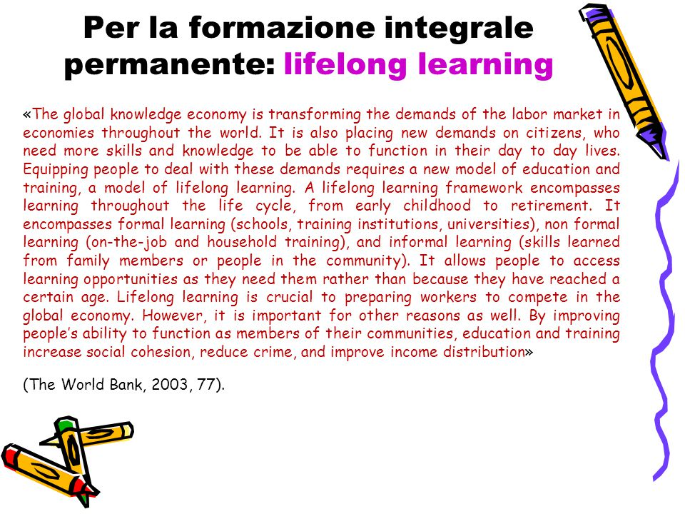 Per la formazione integrale permanente: lifelong learning