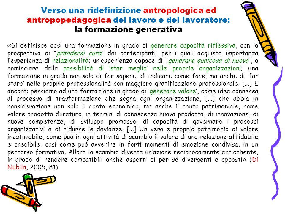 Verso una ridefinizione antropologica ed antropopedagogica del lavoro e del lavoratore: la formazione generativa