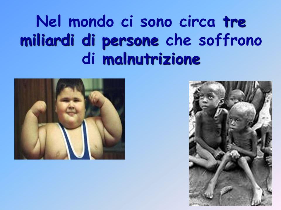 Nel mondo ci sono circa tre miliardi di persone che soffrono di malnutrizione