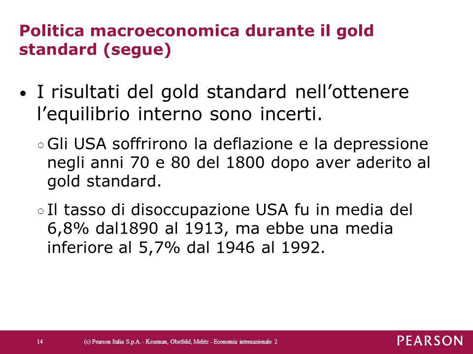 Politica macroeconomica durante il gold standard (segue)