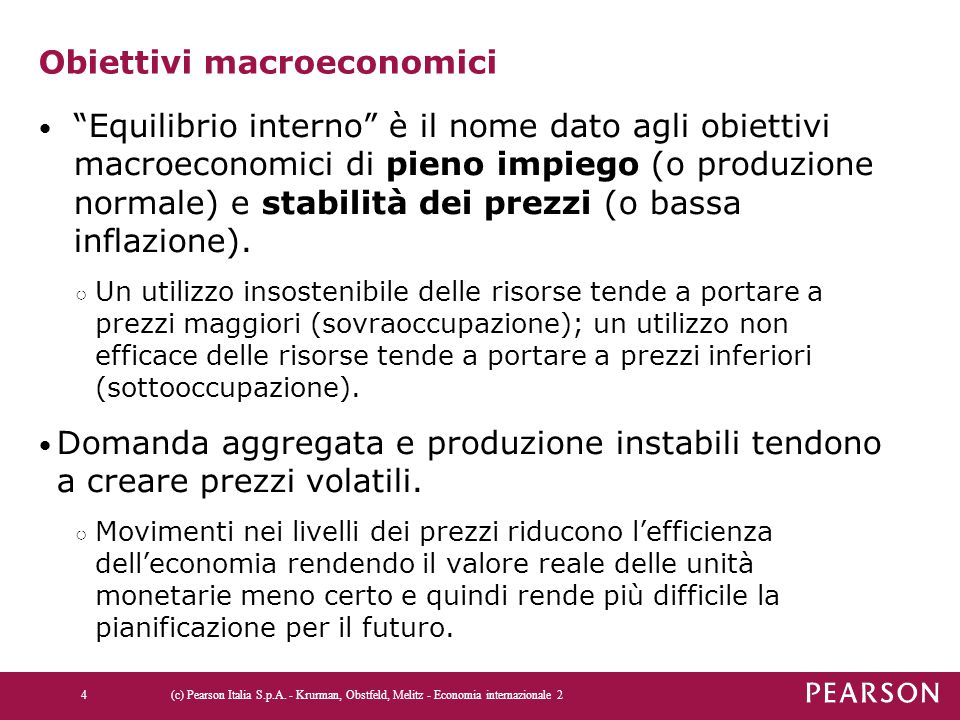 Obiettivi macroeconomici