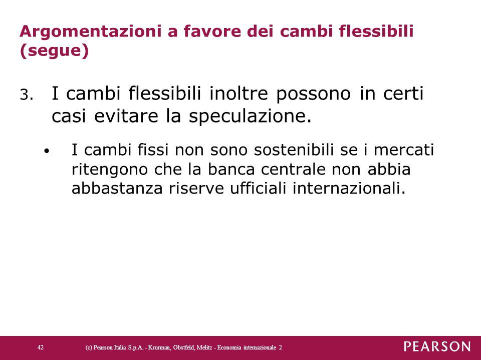 Argomentazioni a favore dei cambi flessibili (segue)