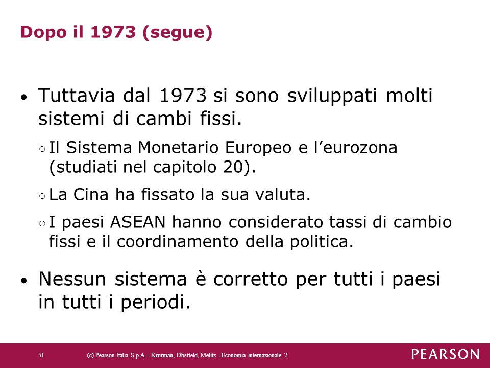 Tuttavia dal 1973 si sono sviluppati molti sistemi di cambi fissi.
