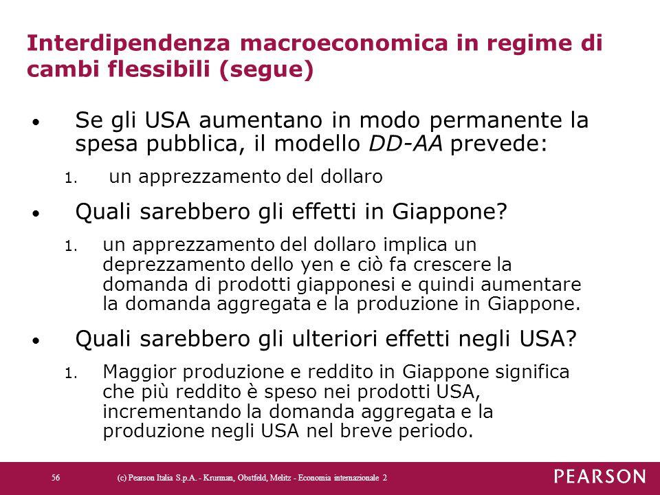 Interdipendenza macroeconomica in regime di cambi flessibili (segue)