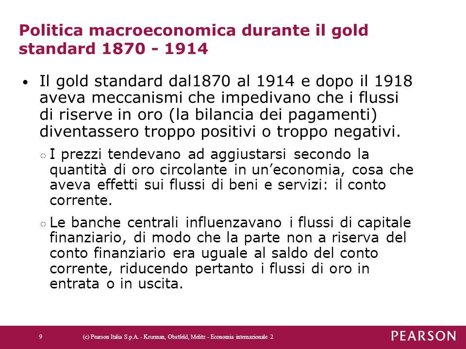 Politica macroeconomica durante il gold standard 1870 - 1914
