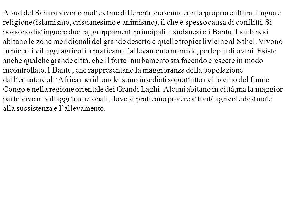 A sud del Sahara vivono molte etnie differenti, ciascuna con la propria cultura, lingua e