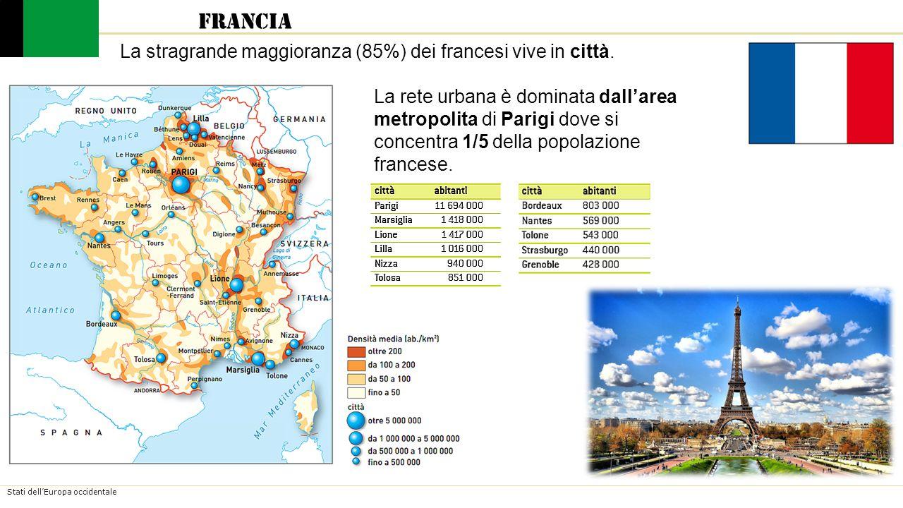 Francia La stragrande maggioranza (85%) dei francesi vive in città.