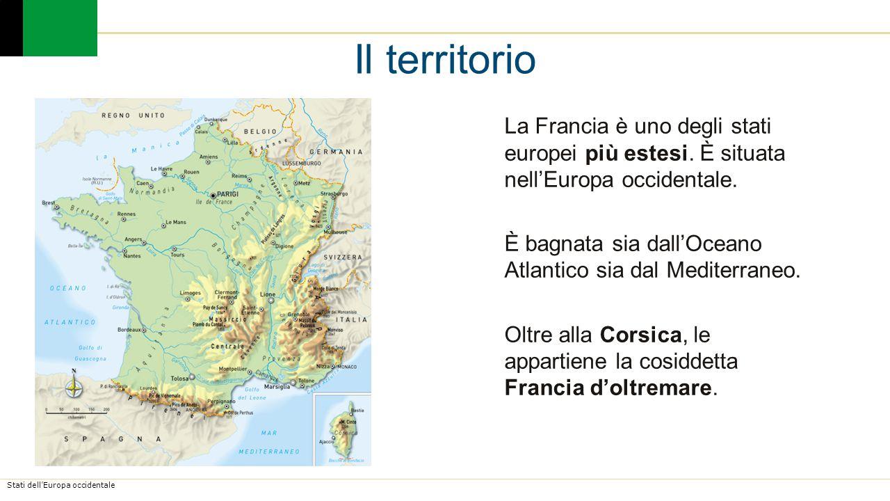 Il territorio La Francia è uno degli stati europei più estesi. È situata nell'Europa occidentale.