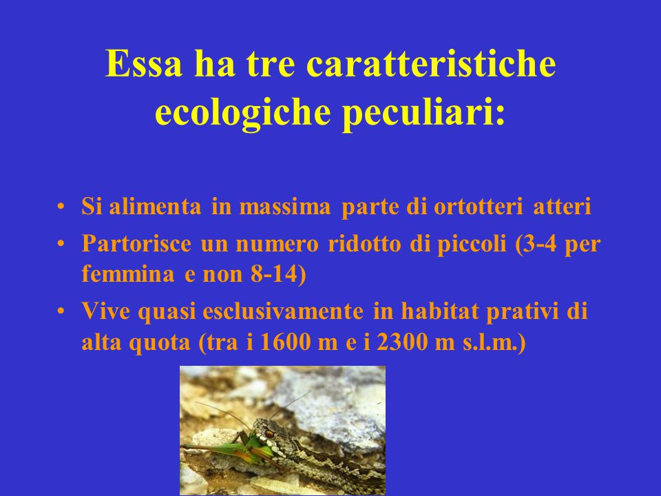 Essa ha tre caratteristiche ecologiche peculiari: